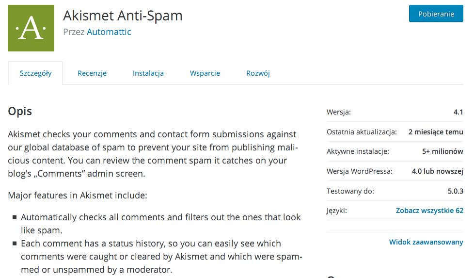 Szczegóły wtyczki w wyszukiwarce rozszerzeń WordPressa na przykładzie Akismet Anti-Spam