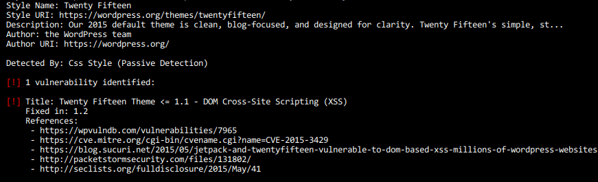 Fragment wyników działania jednego z narzędzi do testowania zabezpieczeń WordPressa