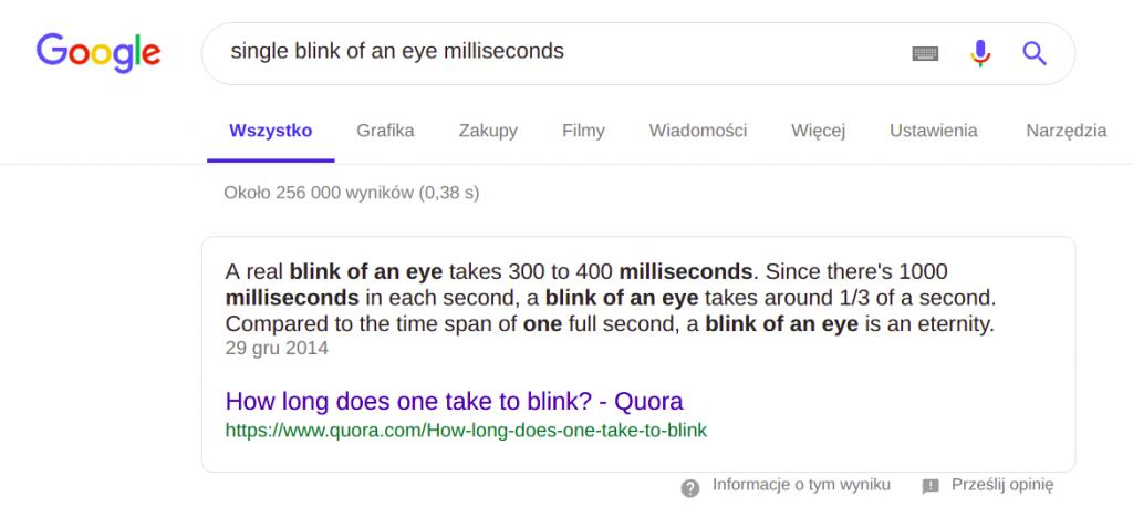 Zapytanie - wyszukiwarka Google Search